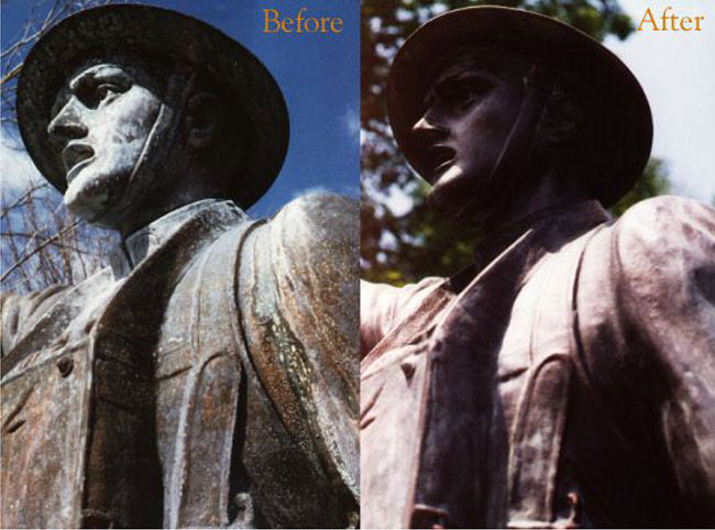 Dedicated to the troops of G. A. R. 1889, a 9 foot bronze soldier stands on top of a 27' outstanding sculpted granite base.
